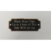 Rotary Engraved Black Brass ID Tags
