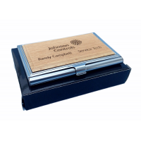 Business Card Holder With Engravable Wood Insert