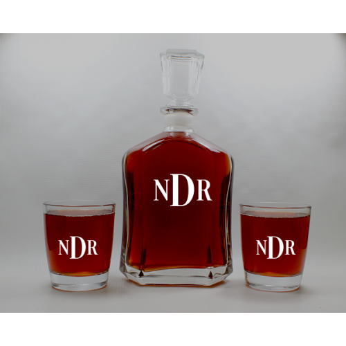 Glass Decanter With (4) Glasses