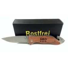 Rosewood Pocket Knife With Glass Breaker & Seatbelt Cutter