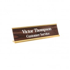 Woodgrain Desk Name Plate and Metal Holder