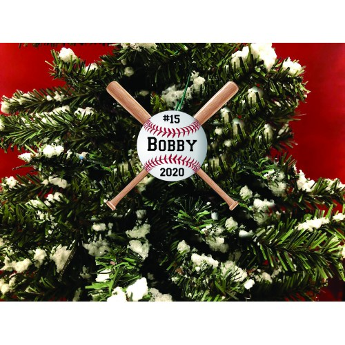 Personalized Christmas Ornament. Baseball With Bats