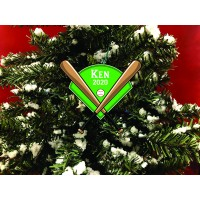 Personalized Christmas Ornament. Baseball With Bats and Baseball Diamond