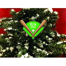 Personalized Christmas Ornament. Baseball With Bats and Baseball Diamond